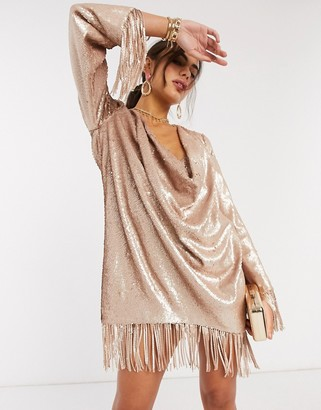 ASOS DESIGN all over sequin cowl neck mini shift dress with fringe hem in Pink