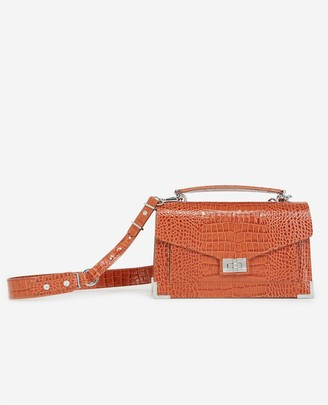 The Kooples Emily medium red croc-print bag in leather