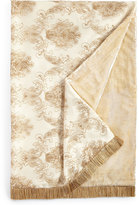 """Isabella Collection Catania Throw with Embroidered Sheer Overlay, 50"""" x 71"""""""