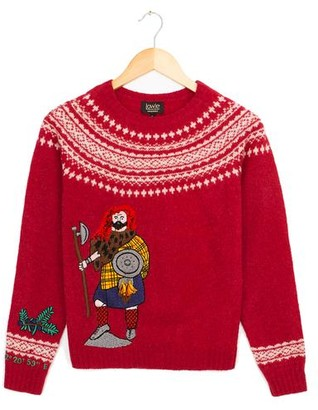 Lowie Red X Kilometre Embroidered Lambswool Scotland Jumper - M - Red