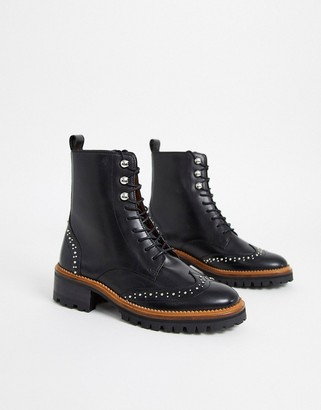 And other stories & real leather lace up ankle boots in black