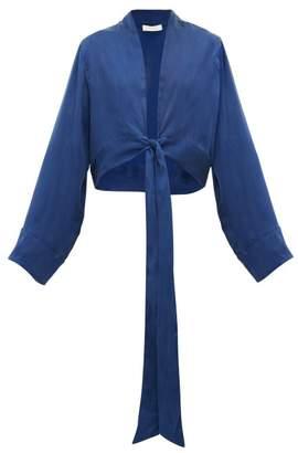 Worme - Front-tie Silk Wrap Top - Womens - Dark Blue