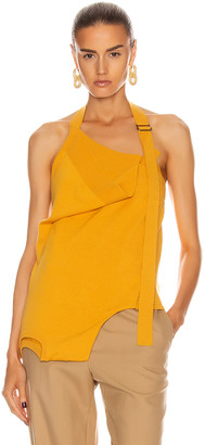Monse Upside Down Halter Knit Top in Sunflower | FWRD