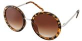 ASOS Round Sunglasses With Mixed Bridge Detail - Tortoise