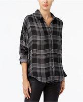 William Rast Aster Plaid High-Low Shirt