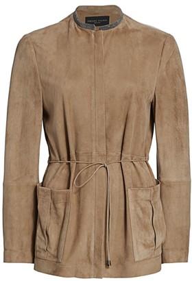 Fabiana Filippi Brilliant Trim Belted Suede Jacket