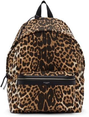 Saint Laurent Beige and Black Leopard Print City Backpack
