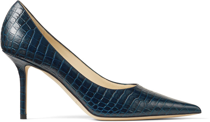 cf3c18292bb7f Jimmy Choo Blue Leather Pumps - ShopStyle