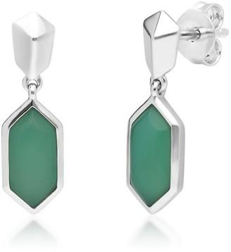 Gemondo Micro Statement Chrysoprase Dangle Earrings In Sterling Silver