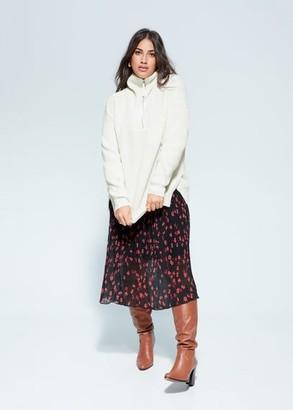 MANGO Zipper brioche stitch sweater