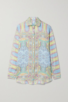 Etro Printed Ramie Shirt - Blue