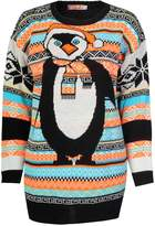 Fashion Box Womens Reindeer Aztec Penguin Print Knitted Christmas Jumpers
