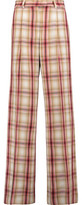 MSGM Checked Wool-Twill Wide-Leg Pants