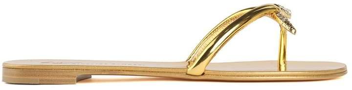 Giuseppe Zanotti Velenoso Crystal-embellished Mirrored-leather Sandals