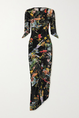Preen by Thornton Bregazzi Ruched Floral-print Stretch-velvet Dress - Black