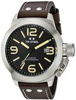 TW Steel Men's CS32 Stainless Steel Watch with Brown Leather Band by