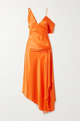 Jonathan Simkhai Asymmetric Draped Satin-crepe Dress - Orange