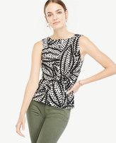 Ann Taylor Cheetah Leaf Tie Front Shell