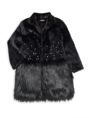 Imoga Little Girl's & Girl's Bejeweled Faux Fur Coat