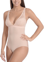 Body Beautiful Women's Undergarment Bodysuits Nude - Nude Lace-Accent Smoothing Bodysuit - Women & Plus