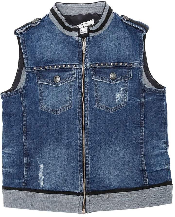 John Galliano Studded Washed Cotton Denim Vest
