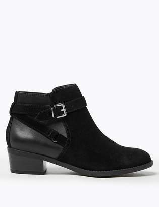Marks and Spencer Suede Side Buckle Block Heel Ankle Boots