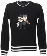 Dolce & Gabbana Black Wool Sweater With Jazz Embroidery