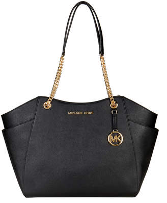 Michael Kors Women's Totebags BLACK - Black Jet Set Large Chain-Strap Leather Tote