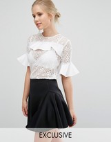 Closet London Closet Lace Blouse with Satin Ruffle Detail