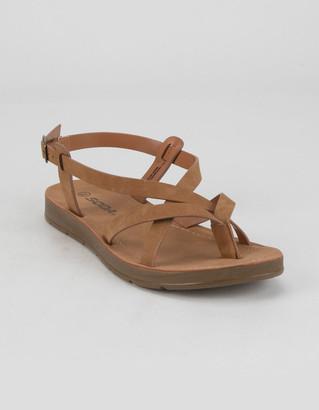 Soda Sunglasses Criss Cross Ankle Womens Black Sandals