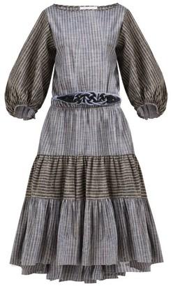 Binetti Love Rhiannon Striped Tiered Cotton Dress - Womens - Blue