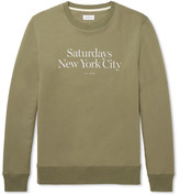 Saturdays NYC Bowery Miller Printed Loopback Cotton-jersey Sweatshirt - Army green