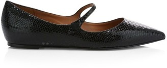 Tabitha Simmons Hermione Snakeskin-Embossed Leather Mary Jane Flats