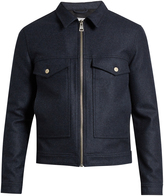 Ami Zip-through point-collar wool-blend jacket