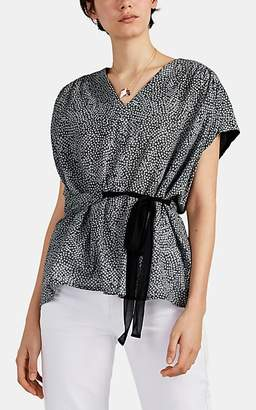 Pas De Calais Women's Shibori-Print Cotton Tie-Waist Blouse - Gray