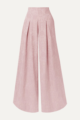 Mother of Pearl Net Sustain Lola Organic Cotton And Wool-blend Jacquard Wide-leg Pants - Pastel pink