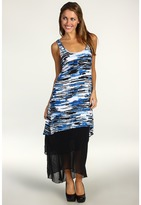 Kensie Tiered Asymmetrical Maxi Dress (Cobalt Multi) - Apparel