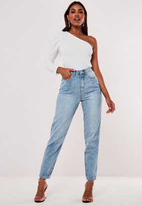 Missguided Tall Light Blue Highwaisted Clean Mom Jeans