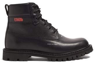 Heron Preston Worker Logo Print Grained Leather Boots - Mens - Black