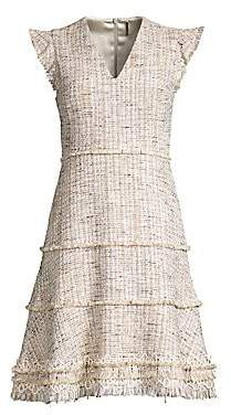 Elie Tahari Women's Loraine Fringed Tweed Flare Dress