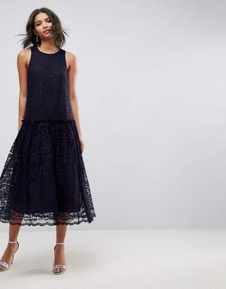 Asos Design Lace Smock Drop Waist Midi Dress-Navy