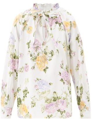 LoveShackFancy Willow Floral-print Cotton-corduroy Blouse - White Print