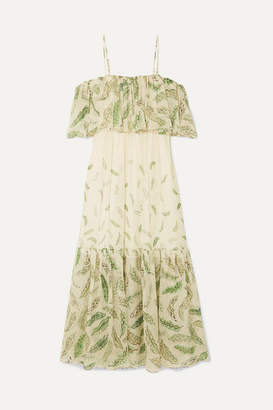 Three Graces London Zandra Rhodes Diana Cold-shoulder Ruffled Printed Silk-chiffon Dress - Green