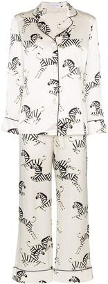 Olivia von Halle Lila zebra print two-piece pyjama set