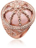 Thomas Sabo 18k Rose Gold Plated Sterling Silver Ring w/White Zirconia and Rose Quartz