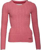 Superdry Womens Croyde Cable Crew Neck Jumper Pink Marl