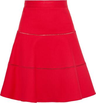RED Valentino Flared Lattice-trimmed Cotton-blend Ponte Skirt