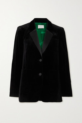 Racil Anais Satin-trimmed Cotton-blend Velvet Blazer - Black