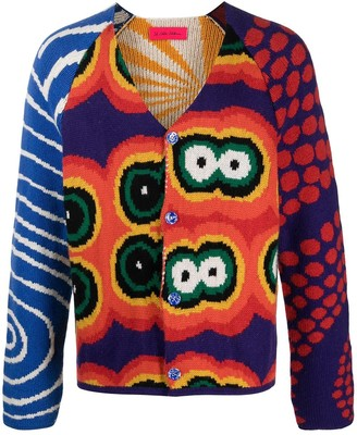 The Elder Statesman Abstract-Print Cashmere Cardigan