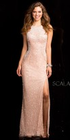 Scala Demask Edging Sequin Prom Dress